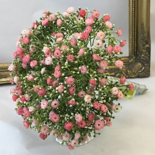 Pink Gypsophilia bridal bouquet, artificial wedding flowers